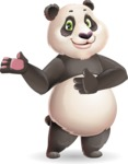 Cute Panda Vector Cartoon Character - Showing with both hands