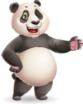 Cute Panda Vector Cartoon Character - Showing with left hand