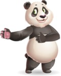 Cute Panda Vector Cartoon Character - Showing with right hand