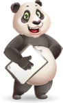 Cute Panda Vector Cartoon Character - Smiling and holding notepad