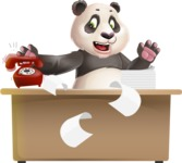 Cute Panda Vector Cartoon Character - Stressed out