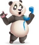 Cute Panda Vector Cartoon Character - Talking on phone