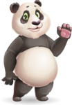 Cute Panda Vector Cartoon Character - Waving for Goodbye with a hand
