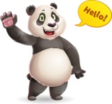 Cute Panda Vector Cartoon Character - Waving for Hello with a hand