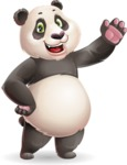 Cute Panda Vector Cartoon Character - Waving
