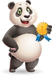 Cute Panda Vector Cartoon Character - Winning prize