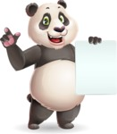Cute Panda Vector Cartoon Character - with a Blank paper