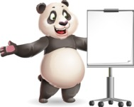 Cute Panda Vector Cartoon Character - with a Blank Presentation board