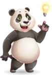 Cute Panda Vector Cartoon Character - with a Light bulb