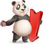 Cute Panda Vector Cartoon Character - with Arrow going Down