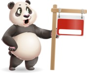 Cute Panda Vector Cartoon Character - with Blank Real estate sign
