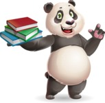 Cute Panda Vector Cartoon Character - with Books