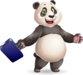 Cute Panda Vector Cartoon Character - with Briefcase