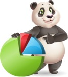 Cute Panda Vector Cartoon Character - with Business graph