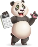 Cute Panda Vector Cartoon Character - with Calculator