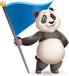 Cute Panda Vector Cartoon Character - with Flag