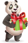 Cute Panda Vector Cartoon Character - with Gift box