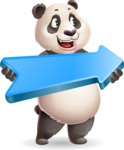 Cute Panda Vector Cartoon Character - with Positive arrow