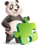 Cute Panda Vector Cartoon Character - with Puzzle