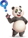 Cute Panda Vector Cartoon Character - with Question mark