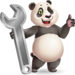 Cute Panda Vector Cartoon Character - with Repairing tool wrench