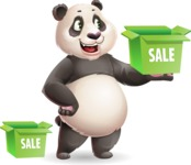 Cute Panda Vector Cartoon Character - with Sale boxes