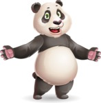 Cute Panda Vector Cartoon Character - with Stunned face