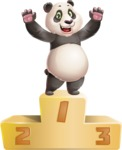 Cute Panda Vector Cartoon Character - with Success on Top