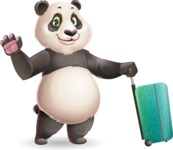 Cute Panda Vector Cartoon Character - with Suitcase