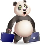 Cute Panda Vector Cartoon Character - with Two briefcases