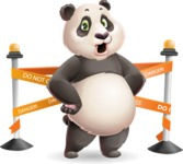 Cute Panda Vector Cartoon Character - with Under Construction sign