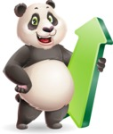 Cute Panda Vector Cartoon Character - with Up arrow