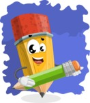 School Pencil Cartoon Vector Character AKA Mark McPencil - Artistic Concept Illustration