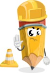School Pencil Cartoon Vector Character AKA Mark McPencil - as a Construction worker