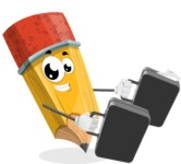 School Pencil Cartoon Vector Character AKA Mark McPencil - Being Bussy with Briefcases