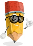 School Pencil Cartoon Vector Character AKA Mark McPencil - Being Cool with Sunglasses