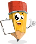 School Pencil Cartoon Vector Character AKA Mark McPencil - Being Happy and Showing a Notepad