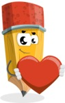 School Pencil Cartoon Vector Character AKA Mark McPencil - Being Romantic With Heart
