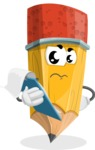 School Pencil Cartoon Vector Character AKA Mark McPencil - Being Sad Holding a Notepad