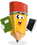 School Pencil Cartoon Vector Character AKA Mark McPencil - Choosing between Book and Tablet