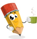 School Pencil Cartoon Vector Character AKA Mark McPencil - Drinking Cup of Coffee