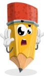 School Pencil Cartoon Vector Character AKA Mark McPencil - Feeling Shocked