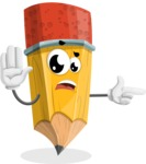 School Pencil Cartoon Vector Character AKA Mark McPencil - Finger pointing with angry face