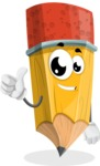 School Pencil Cartoon Vector Character AKA Mark McPencil - Giving Thumbs Up