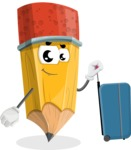 School Pencil Cartoon Vector Character AKA Mark McPencil - Going to vacation with a Suitcase