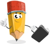 School Pencil Cartoon Vector Character AKA Mark McPencil - Holding a Brifcase