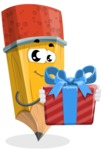 School Pencil Cartoon Vector Character AKA Mark McPencil - Holding a Gift