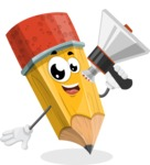 School Pencil Cartoon Vector Character AKA Mark McPencil - Holding a Loudspeaker