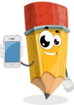 School Pencil Cartoon Vector Character AKA Mark McPencil - Holding a Mobile Phone
