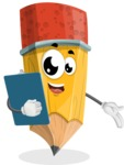School Pencil Cartoon Vector Character AKA Mark McPencil - Holding a Notepad